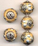 19mm Tan/Silver Fancy Beads