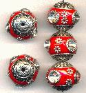 18mm Red/Silver Fancy Beads w/ RS