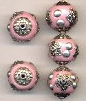 19mm Light Pink/Silver Fancy Beads