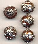 19mm Brown/Silver Fancy Beads