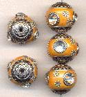 18mm Orange/Silver Fancy Beads w/ RS
