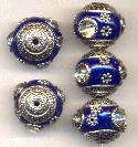 18mm Navy Blue/Silver Fancy Beads w/ RS