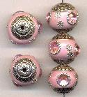 18mm Light Pink/Silver Fancy Beads w/ RS
