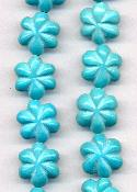 14mm Turquoise Magnesite Flower Beads