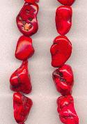 15''-16'' Small Red Magnesite Nugget Beads