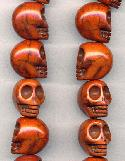 18x14mm Burnt Sienna Skull Beads