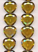 22mm Smk Topaz/Vitrail Glass Heart Beads