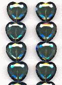 22mm Black Diamond/Blue Heart Beads