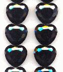 22mm Opaque Hematite Glass Heart Beads