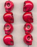 12x10mm Deep Pink Magnesite Skull Beads