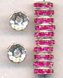 10mm Silver Fuchsia RS Rondelles