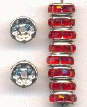 8mm Silver/Red Rhinestone Rondelles