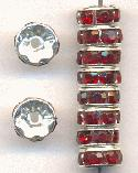 8mm Silver/Ruby RS Rondelles