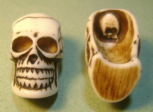 42x23mm Imitation Yak Bone Carved Skull Jan S Jewelry Supplies