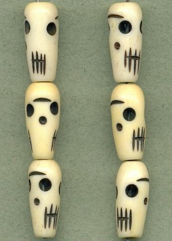 19x8mm Black White Carved Bone Skulls Jan S Jewelry Supplies