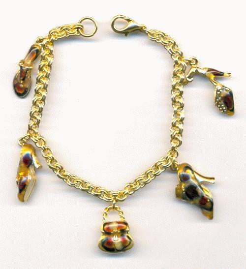 Shoe Charm Bracelet: 7'' GP Shoe And Purse Charm Bracelet