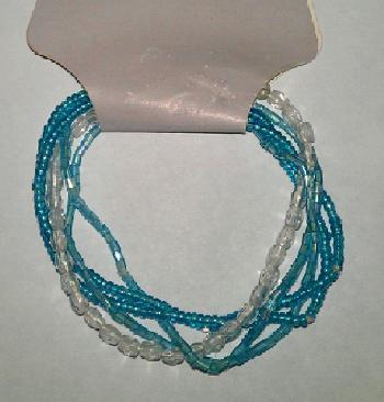 8 Blue Glass Bead Elastic Bracelets Jan S Jewelry Supplies