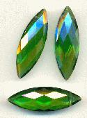 30mm by 10mm Emerald Faceted Drops