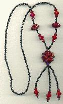 31 1/2'' Black/Red Faceted Necklace