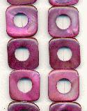20mm Fuchsia Square Donut Shell Beads