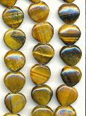12mm Heart Shaped Tiger's Eye Beads