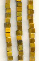 4mm Tiger's Eye Cube Beads