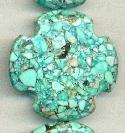 40mm Mosaic Magnesite Cross Beads