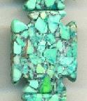 22x18mm Mosaic Magnesite Green Cross