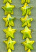 15mm Yellow/Green Swirl Star Beads