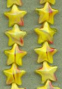 15mm Yellow/Red Swirl Star Beads