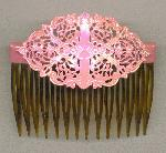 2 3/4'' by 1 3/4'' Pink AB Fili Hair Comb