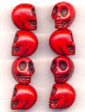 18x14mm Red Magnesite Skull Beads