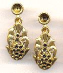 37x16mm AG Pear Drop Earring W/Settings