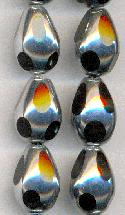 15x10mm Silver/Black Glass Beads