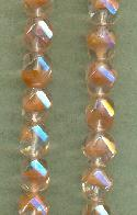 9mm Clear/Pale Pink Faceted Glass Beads