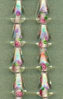 15x9mm Clear/Green/Pink Floral Bead