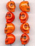 12x10mm Orange Magnesite Skull Beads