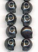 12x10mm Black Magnesite Skull Beads