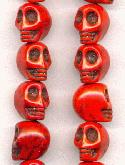 12x10mm Red Magnesite Skull Beads