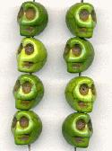 12x10mm Green Magnesite Skull Beads