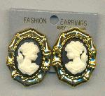 40x30mm Acrylic Cameo Clip-On Earrings