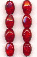 14x10mm Cherry Red Crackle Beads