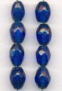 12x8mm Blue Faceted Glass Beads