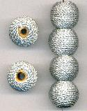 17mm Silver Wrapped Wooden Beads