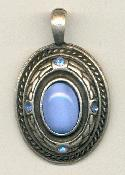 42x27mm AS Cast Oval Pendant W/Stones