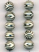 10mm Black & White Glass Beads