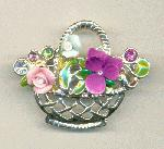 43x33mm SP Flower Basket Brooches