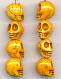 12x10mm LT Orange Magnesite Skull Beads
