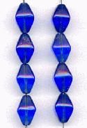 11x8mm Sapphire Glass Bicone Beads