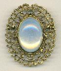 46x38mm AG White Opal Oval Brooch
